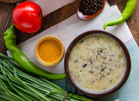 Borsch and mushroom soup served on table