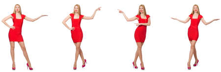 Beautiful woman in red dress isolated on white