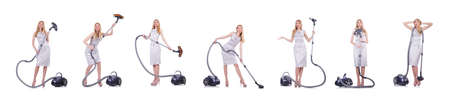 Young woman with vacuum cleaner on white background