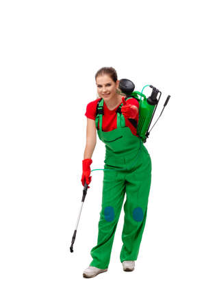 Female pest control contractor isolated on white background