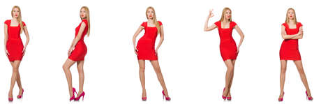 Beautiful woman in red dress isolated on white background
