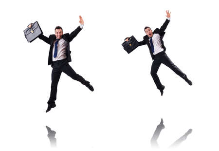 Jumping businessman isolated on the white background