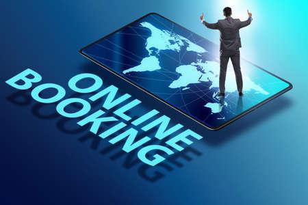 Concept of online booking with businessman Zdjęcie Seryjne