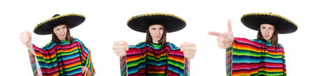 Pretty Mexican girl in vivid poncho isolated on white background