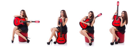 Woman guitar player isolated on the white background