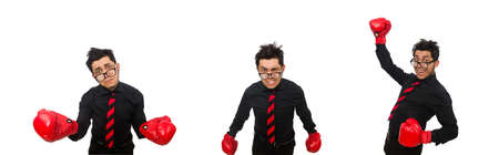 businessman with red boxing gloves Stock Photo