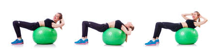 Woman doing exercises with ball on white background