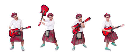 Funny Scotsman with guitar on white background