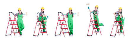 Woman repair worker with ladder 写真素材