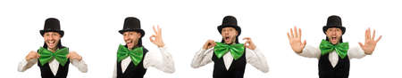 Man with big green bow tie in funny concept Stock fotó