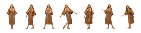 Woman wearing medieval arab clothing on white background Stock fotó
