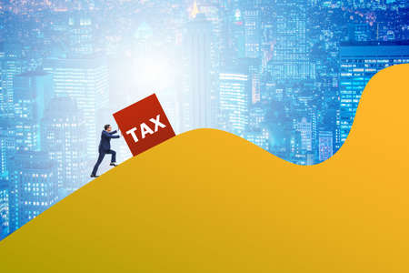 Businessman in tax concept on mountain