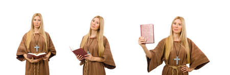 Christian woman isolated on the white Stock Photo