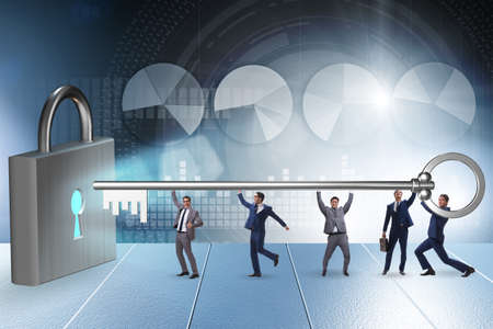 Businessmen unlocking new opportunity with key