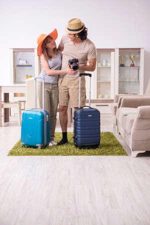 Young couple preparing for trip 版權商用圖片