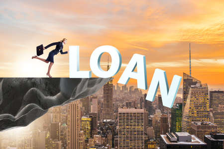 Debt and loan concept with businesswoman