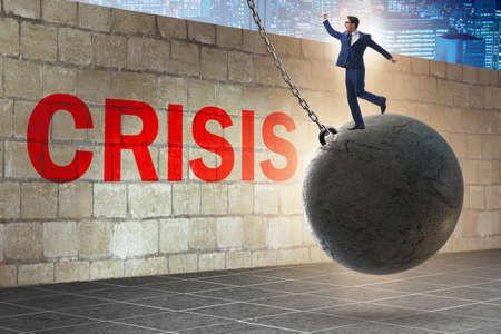 Businessman in crisis management concept Banco de Imagens