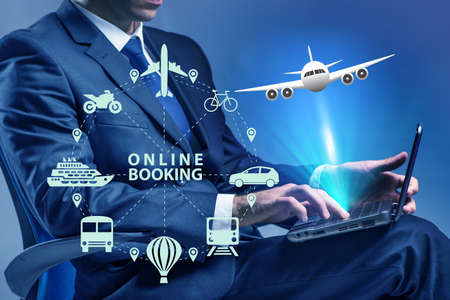 Concept of online booking for trip Фото со стока