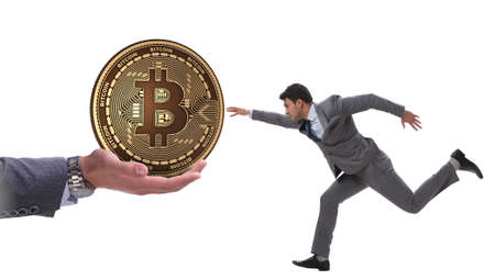 Businessman in bitcoin price increase concept
