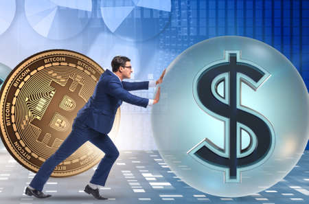 Businessman pushing bitcoin in cryptocurrency blockchain concept Banco de Imagens