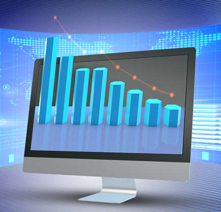 Illustration with business charts - 3d rendering Stock fotó - 129985065