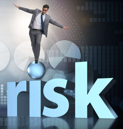 Young businessman in business risk and uncertainty concept Reklamní fotografie