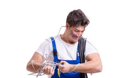 Funny man doing electrical repair 写真素材