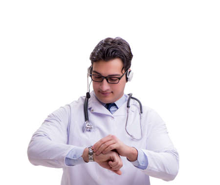 Young doctor with phone headset isolated on white Stok Fotoğraf