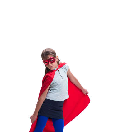 Young girl in super hero concept isolated on white 版權商用圖片