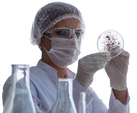 Female scientist researcher conducting an experiment in a labora 写真素材