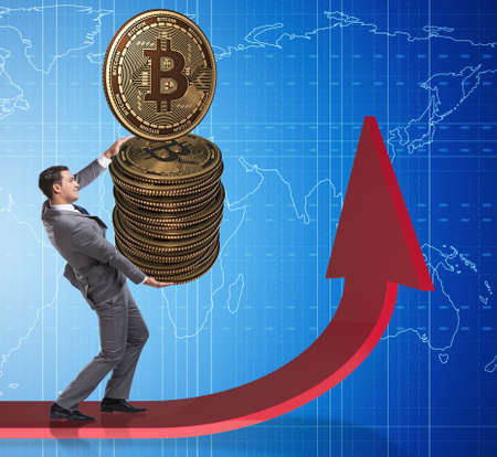 Businessman holding bitcoin in cryptocurrency blockchain concept