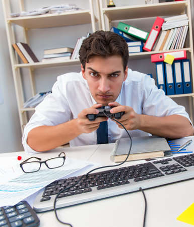 Employee playing computer games in the office