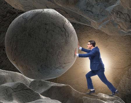 Geschäftsmann im schwierigen Herausforderungskonzept Standard-Bild