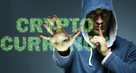 Hacker hacking cryptocurrency in blockchain concept Zdjęcie Seryjne