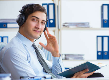 Call center operator talking to customer on live call
