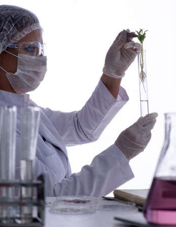 Female scientist researcher conducting an experiment in a labora 写真素材 - 129990927