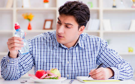 Man on special diet programm to lose weight Stockfoto