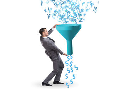 Data monetization concept with funnel and businessman