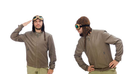Funny pilot isolated on the white Stock Photo