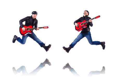 Guitar player isolated on white Stock Photo