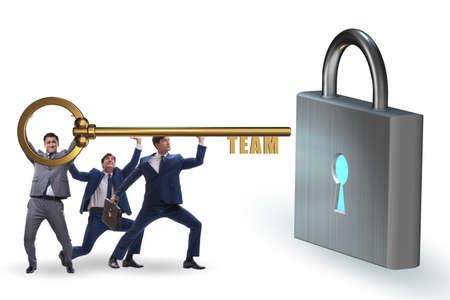 Concept of teamwork with businessmen unlocking lock