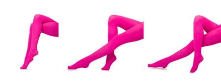 Woman legs in long stockings