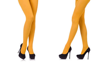 The woman legs in long stockings