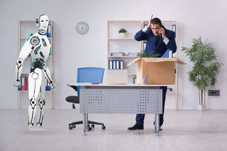 Concept of robots replacing humans in offices