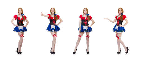 Woman waitress in octoberfest concept Stock Photo