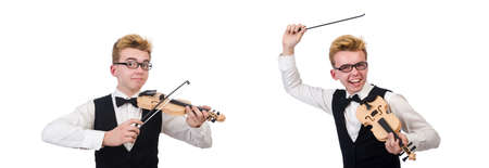 Funny violin player isolated on white Stock Photo