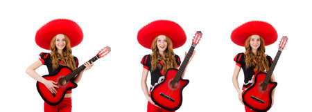 Woman guitar player with sombrero on white Stock Photo