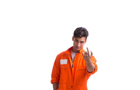 Prisoner in orange robe isolated on white background