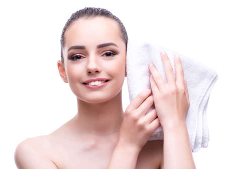 Woman in beauty concept with towel spa bath Фото со стока