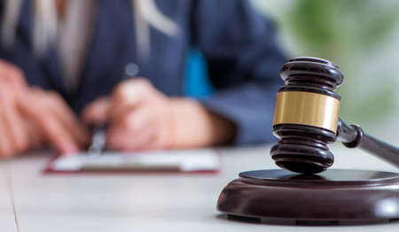 Judge and his gavel in law concept Stockfoto